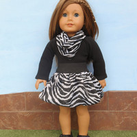 American Girl Doll Clothes, Zebra Print Skirt, Infinity Scarf and Black Leotard, Sparkly Bubble Skirt, 3 Piece Outfit, fits 18 Inch Dolls