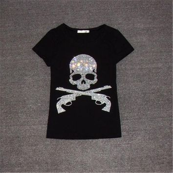 2017 New Women T shirts Fashion T-shirt Woman O-neck Top Short Sleeve Skull Diamond Bling Female Plus Size t shirt 62561