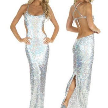 Silver Stretch Sequin Gown Stripper wear