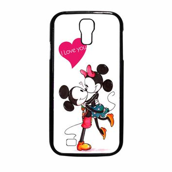 Mickey And Minnie Mouse Kissing glases Samsung Galaxy S4 Case