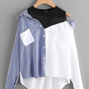 Plus Size Pocket Front Cut And Sew High Low Blouse