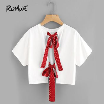 Bow Tie Split Back Crop Top Polka Dot Strap Cute Tee Shirt Women White Sweet Tops O Neck Casual Ladies Cotton T-Shirt
