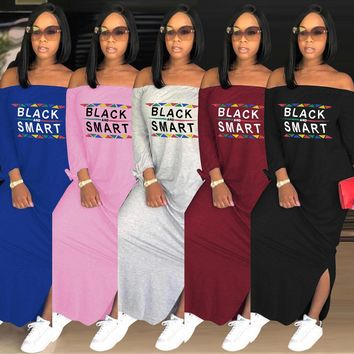 casual T-shirt long dresses Shoulder off dress stitching Ladies Vestidos sexy Split Maxi dress bodycon plus size women clothing
