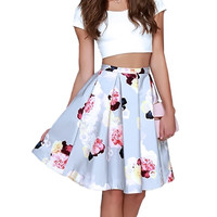 White Crop Top And Floral Printed Pleated Midi Skirt