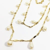 Faux Pearl Drop Necklace Two Strand Gold Tone Bar Link Chain Vintage 1990s White Tear Drop Bead Round Shape Beads 2 Strands Gift for Her