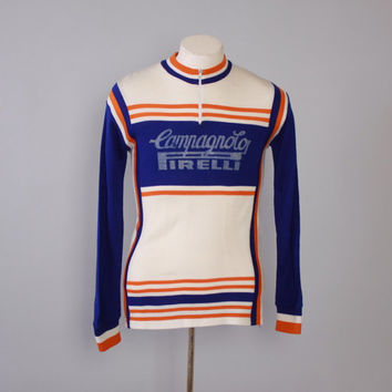 Vintage 70s CAMPAGNOLO Jersey / 1970s Pirelli Acrylic Long Sleeve Half Zip Cycling Sweater Jersey M