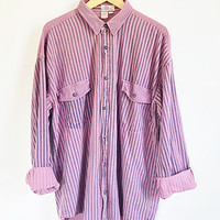 Vintage Striped Denim Shirt -- Pink 80s Shirt -- Oversized Long Sleeved Shirt -- Slouchy Button Up Jean Shirt -- Unisex -- Mens Large /  XL