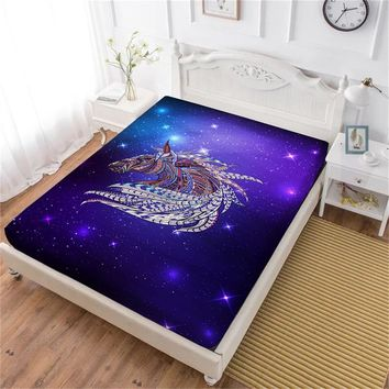 Multi-Color Horse Print Bed Sheet 3D Galaxy Animal Fitted Sheet White Purple Bedsheet King Queen Elastic Band Mattress Cover D40
