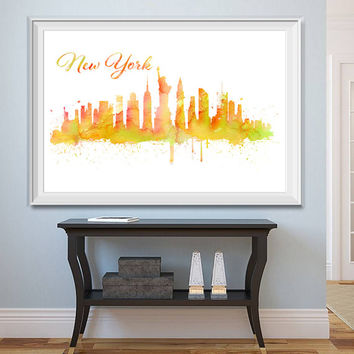 New York City Skyline Watercolor -  Set of 5 Printables - Watercolor effect - NY Skyline - Printable New York Watercolor - Instant Download