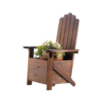 Rustic Charm Wooden Adirondack Chair Planter Flower Pot Holder