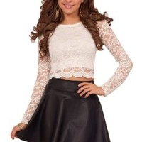 Women's Cocktail Lined Lace Boat Neck Long Sleeve Crop Scallop Hem Top