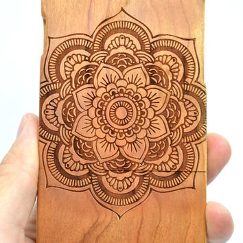 iPhone 6 iPhone 6 Plus Wood Case - Cherry Wood Flower - Handmade Wooden Case and Cover for Your iPhone 6 & iPhone 6 Plus