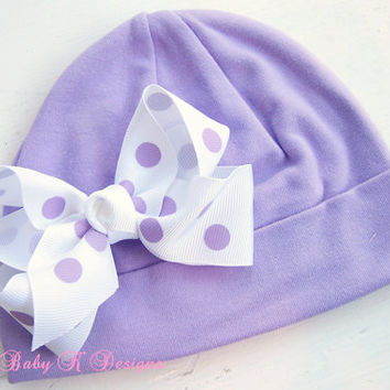 Infant Beanie / Newborn Beanies / Baby Beanie / Girls Hat / Lilac/Light Purple Cotton Beanie/Hat and Bow