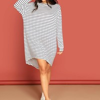 Slouchy High Low Striped Tee Dress