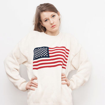 SALE 15% off from price !! vintage white slouchcy sweater with american flag on chest