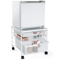 White elfa Mesh Compact Fridge Cart
