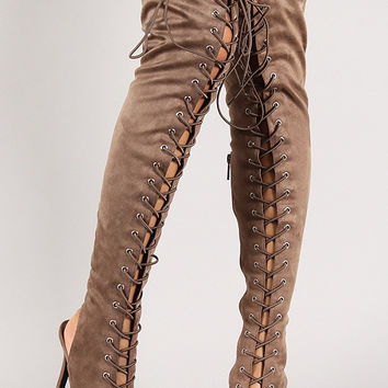 Lace Up Back Cut Out Thigh High Boot