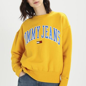 Tommy Jeans Embroidery Logo Loose Crewneck Sweater Pullover Sweatshirt