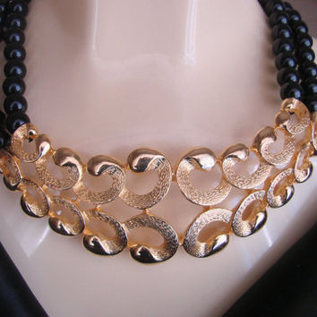 Valentino Runway Haute Couture Brushed Gold Plate Black Bead Bib Necklace / Designer Signed  / Vintage Jewelry / Jewellery