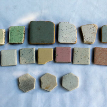 Pottery Shards~Tile~Mosaics~Craft Supplies~Bohemian Style~Funky Jewelry~Sea Glass Art~Genuine Surf Tumbled~Lake Erie~Pink~Green~Yellow~