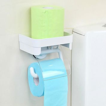 Dehub Toilet Paper Holder With Storage Shelf Suction Cup Toilet Paper Holder Paper Towel Holder With Shelf Bathroom Accessories