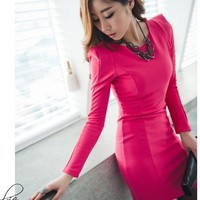 chic OL pure color high shoulder style one-piece dress | martofchina.com