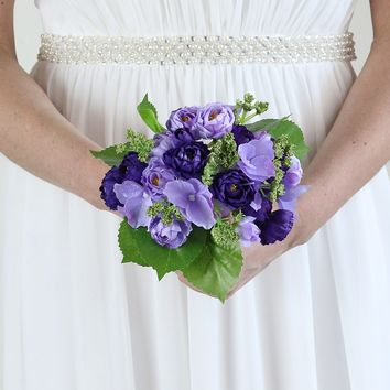 "Silk Rose, Hydrangea & Sedum Bouquet in Purple and Lavender - 10"" Tall"