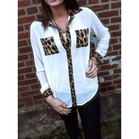 Leopard Print Long Sleeve Chiffon Blouse Shirt with 2 Pockets