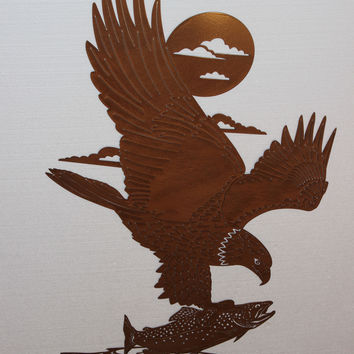 """Eagle with Salmon Large Metal Wall Art Home Decor 28""""W X 48""""T"""