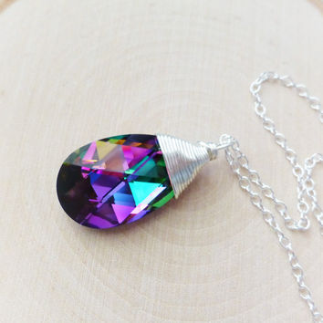 Rainbow Swarovski Crystal Pendant Necklace, Prism Pear Crystal, Wire Wrapped Teardrop Necklace, Sterling Silver, Gift for Her