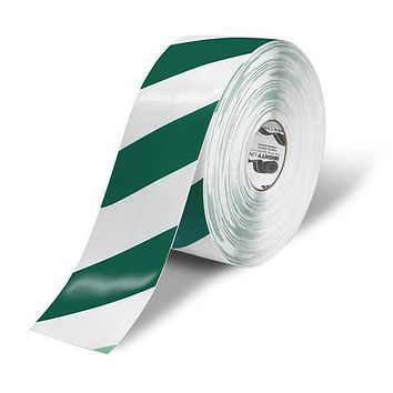 """4"""" White Floor Tape with Green Chevrons - 100'  Roll"""