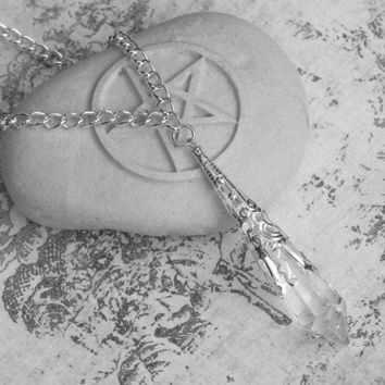 Divinity . Swarovski Crystal Magickal Prism Divination Pendulum Necklace . Silver Filigree Pendant . 30 inch Pagan Wiccan