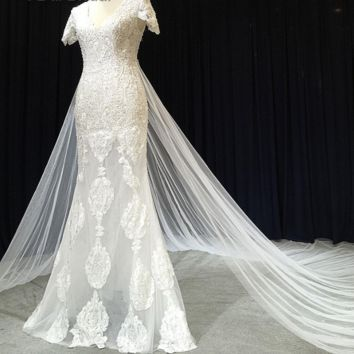 Short Sleeve Lace Wedding Dress with Detachable Tulle Skirt Bridal Gown