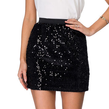 Black Sequined Step Skirt