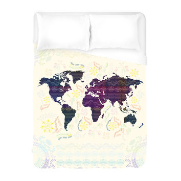 Bohemian Map Duvet Cover