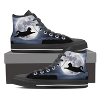 Jumping Cat And The Moon Women Canvas Shoes