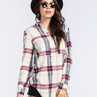 Full Tilt Oversized Womens Flannel Cream Combo  In Sizes