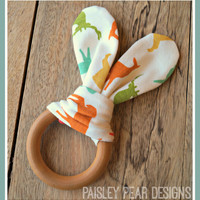 Baby Organic Natural Maple Teething Ring Sensory Toy Shower Gift 5 patterns to choose Elk Elephants Campers Mustaches & Chevron