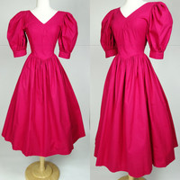 1980s Laura Ashley dress pink fit and flare cotton short poofy puff sleeve tea length dress, Small, 6
