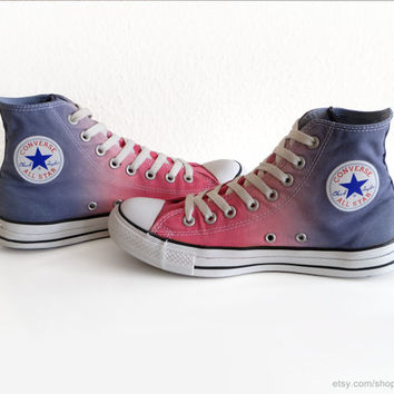 Hot pink and steel blue ombre dip dye Converse sneakers, upcycled vintage All Stars, high tops, size 40 (UK 7, US wo's 9, US mens 7)