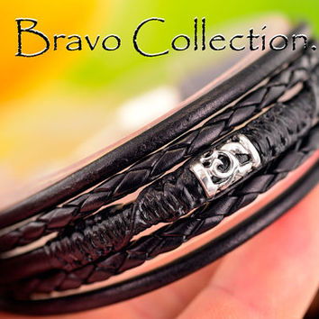 B-885 Solid 925 Sterling Silver Leather New Bangle Wristband Men Bracelet.