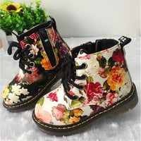 2017 Fashion Printing Children Shoes For Girls Boots Cute Martin Boots Soft Bottom Baby Boots Comfy Kids Leather Casual Shoes
