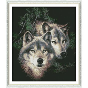 Two Wolves (2) Counted Cross Stitch 11CT Printed 14CT Handmade Cross Stitch Set animals Cross-stitch Kit Embroidery Needlework