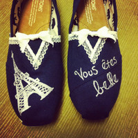 Women's French Lace Paris Toms Shoes by specklesofpaint on Etsy