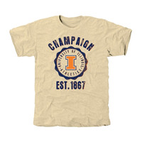 Illinois Fighting Illini Old-School Seal Tri-Blend T-Shirt - Cream
