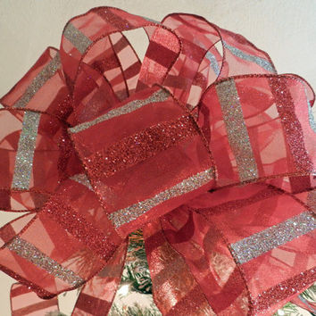 Large Christmas Tree topper bow Sheer red ribbon with glitter silver and red stripes