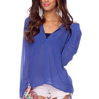 Reese Double Pocket Blouse in Royal Blue :: tobi