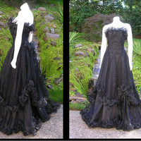 RESERVED FOR E. H. Vintage 1980s Black Lace Strapless Dress Southern Belle Goth Steampunk Victorian.