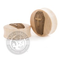 Coffin Engraved Wood Plugs