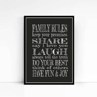 Family Typography Print Signs. Family Rules Print custom Kitchen Art, Black White Subway Sign 8x10, Unique Housewarming Gift For him or her